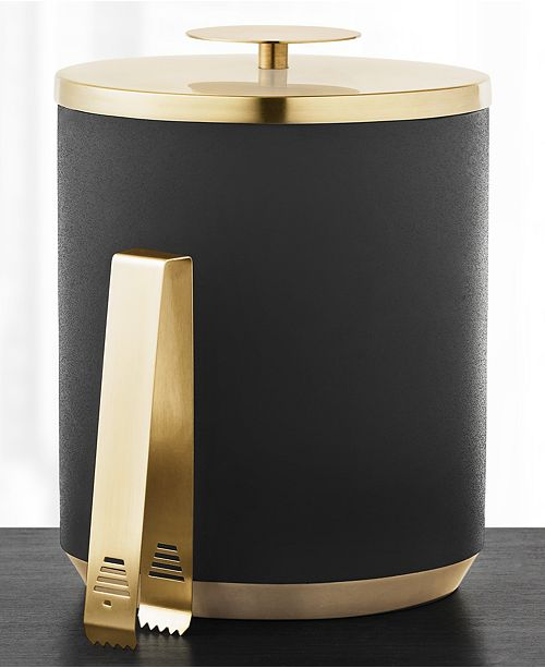 Hotel Collection Black & Gold Ice Bucket with Tongs, Created for Macy's