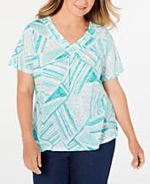 880cc13cab8d94 Alfred Dunner Plus Size Classic Embellished V-Neckline T-Shirt