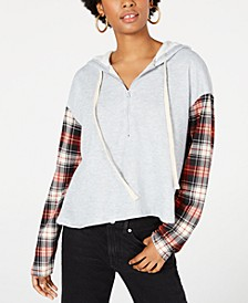 Juniors' Plaid-Sleeved Half-Zip Hoodie