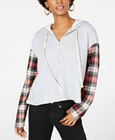 Rewash Juniors' Plaid-Sleeved Half-Zip Hoodie