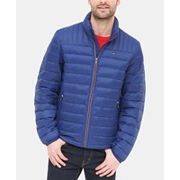 Tommy Hilfiger Mens Down Quilted Packable Logo Jacket Deals