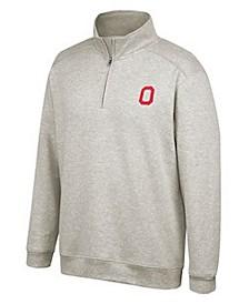 J America Men's Ohio State Buckeyes Tri-Blend Quarter-Zip Pullover