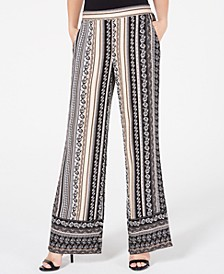 Juniors' Multi-Print Wide-Leg Pants