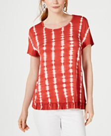 Style & Co Petite Tie-Dye Ruffle-Hem Top, Created for Macy's