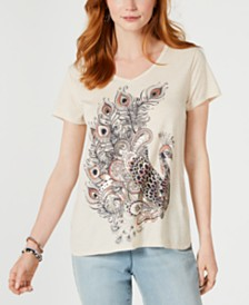 Style & Co Graphic Step-Hem Top, Created for Macy's