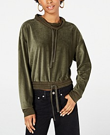 Juniors' Funnel-Neck Corduroy Top
