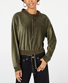 Rewash Juniors' Funnel-Neck Corduroy Top