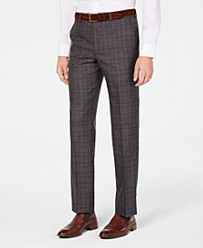 Men's Classic/Regular Fit Airsoft Stretch Brown/Blue Plaid Suit Pants