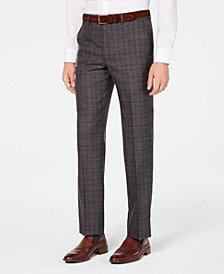 Michael Kors Men's Classic/Regular Fit Airsoft Stretch Brown/Blue Plaid Suit Pants