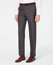 Michael Kors Men's Classic/Regular Fit Airsoft Stretch Brown/Blue Plaid Suit Pants