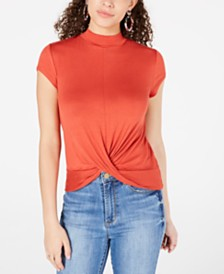Crave Fame Juniors' Mock-Neck Twist-Front Top