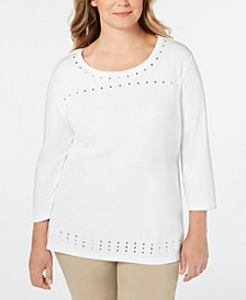 Plus Size Stud-Trim 3/4-Sleeve Top, Created for Macy's