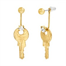 Steve Madden Women's Key Dangle Gold-Tone Front and Back Earrings