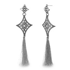 Steve Madden Women's Pointed Star Tassel Black-Tone Earrings