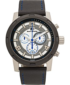 Baracchi Men's Chronograph Watch Black Leather Strap, Blue Stitching, White/Grey Dial, Silver Case, 46mm