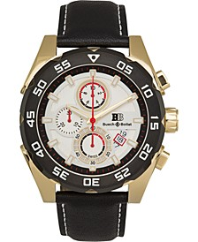 Torrent Men's Chronograph Watch Black Leather Strap, Silver Dial, 44mm