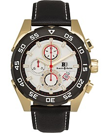 Buech & Boilat Torrent Men's Chronograph Watch Black Leather Strap, Silver Dial, 44mm