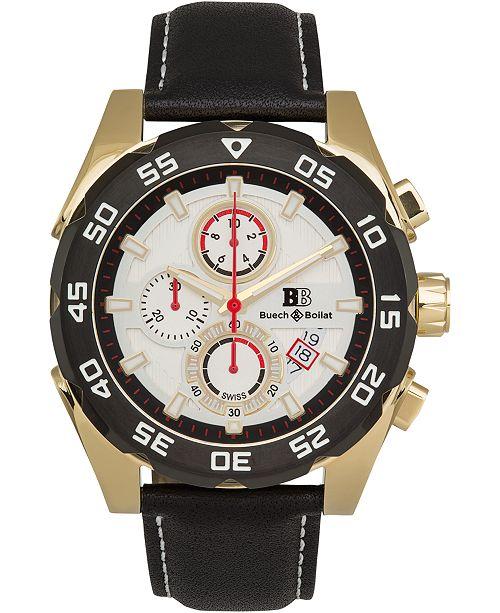 Buech & Boilat Torrent Men's Chronograph Watch Black Leather Strap, Silver Dial, 44mm