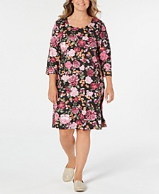 Plus Size Floral-Print Swing Dress, Created for Macy's