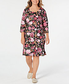 Karen Scott Plus Size Floral-Print Swing Dress, Created for Macy's