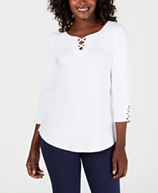 Karen Scott Cotton Crisscross-Trim Top, Created for Macy's