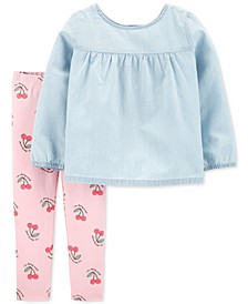 Baby Girls 2-Pc. Chambray Tunic & Printed Leggings Set