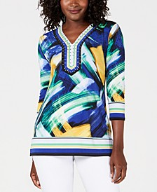 Petite Embellished Y-Neck Tunic, Created for Macy's