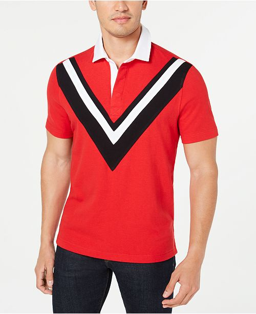 Club Room Men's Pieced Chevron Pattern Rugby Polo Shirt, Created for Macy's