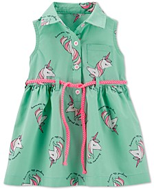 Baby Girls Unicorn-Print Shirtdress