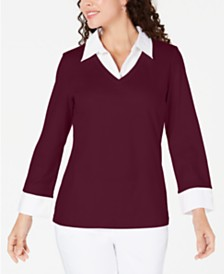 Karen Scott Cotton Layered-Look Sweater, Created for Macy's