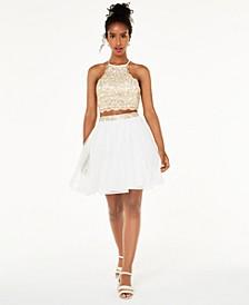 Juniors' 2-Pc. Chain-Lace Fit & Flare Dress