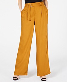 Juniors' Belted Wide-Leg Pants