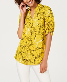 Alfani Printed Ruched-Sleeve Top, Created For Macy's