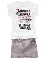ab6d5d2f3d9e GUESS Big Girls Monday-Friday T-Shirt & Denim Skirt
