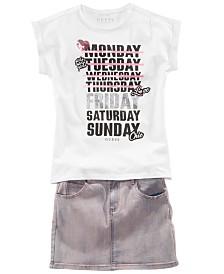 GUESS Big Girls Monday-Friday T-Shirt & Denim Skirt