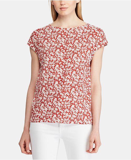 Lauren Ralph Lauren Petite Floral-Print Dolman-Sleeve Top