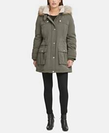 DKNY Petite Faux-Fur-Trim Hooded Anorak, Created for Macy's