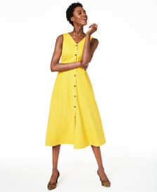 Alfani V-Neck Sleeveless Button-Down Dress, Created for Macy's