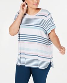 Calvin Klein Performance Plus Size Vista Striped Top