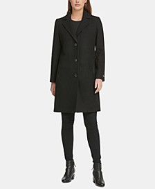 Petite Faux-Leather-Trim Coat, Created for Macys
