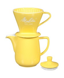 Melitta 64125 Porcelain Pour-Over Carafe Set with Cone Brewer and Carafe, Pastel Yellow
