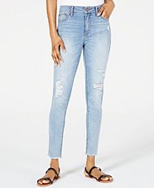 Juniors' Mid-Rise Fray-Hem Skinny Jeans