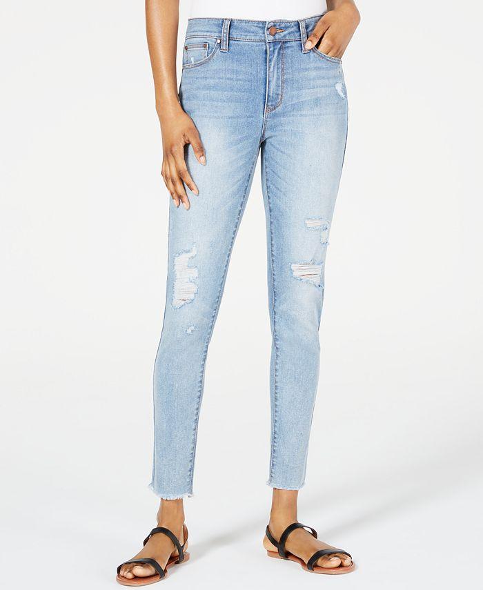Tinseltown - Juniors' Mid-Rise Fray-Hem Skinny Jeans