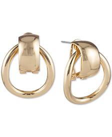 Anne Klein Gold-Tone Door Knocker Stud Earrings