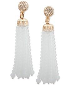 Anne Klein Gold-Tone Pavé Fireball & Beaded Tassel Clip-On Statement Earrings