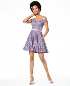 City Studios Juniors' Off-The-Shoulder Lace Fit & Flare Dress, Created for Macy's