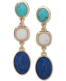 Gold-Tone Multicolor Stone Linear Earrings