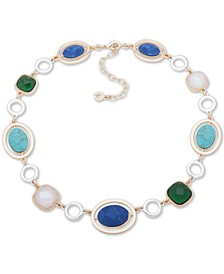 "Two-Tone Multi-Stone Collar Necklace, 16"" + 3"" extender"