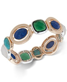 Anne Klein Two-Tone Multi-Stone Stretch Bracelet