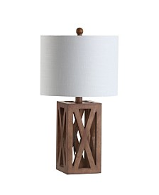 "JONATHAN Y Stewart 21.5"" Wood LED Table Lamp"